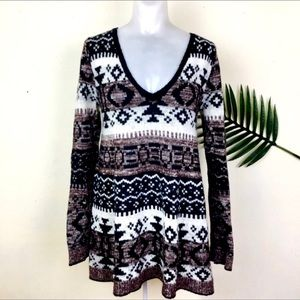 Free People Aztec-Tribal Print V neck Sweater